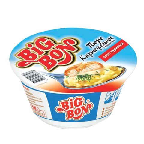 Пюре картофельное BIG BON быстрого приготовления, с соусом, жареной курицей и сухариками, 58г, чашка, вилка