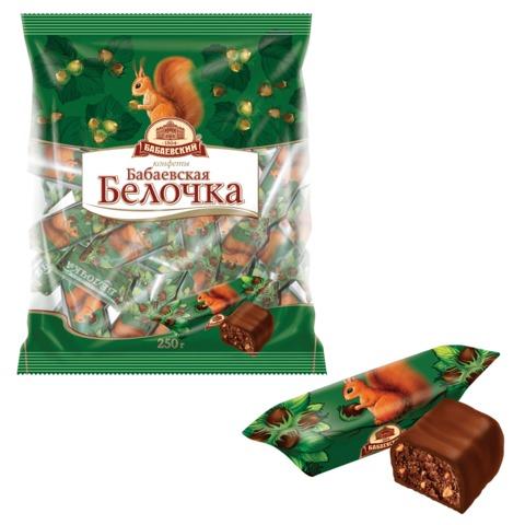 Конфеты шоколадные БАБАЕВСКИЙ «Белочка», 250 г, пакет