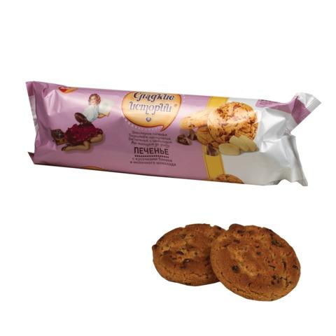 Печенье СЛАДКИЕ ИСТОРИИ банан и молочный шоколад, 280 г, пакет