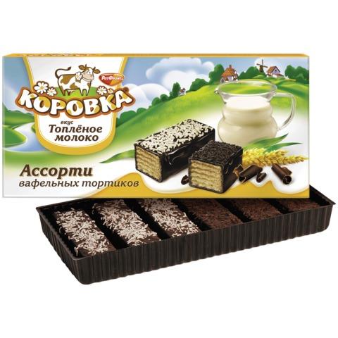 Торт РОТ ФРОНТ «Коровка», ассорти вафельных тортиков, топленое молоко, 200 г, коробка