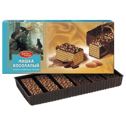 Торт СЕРЕБРЯНЫЙ БОР «Мишка косолапый», ассорти вафельных тортиков, 250 г, коробка