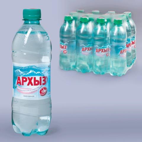 Вода газированная минеральная АРХЫЗ, 0,5 л, пластиковая бутылка