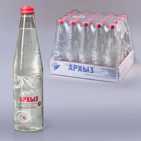 Вода негазированная минеральная АРХЫЗ, 0,5 л, стеклянная бутылка
