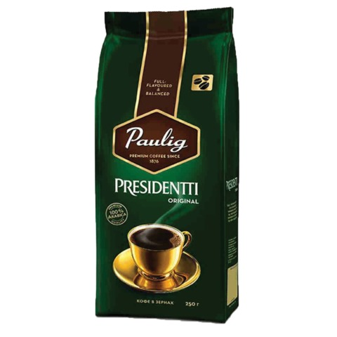 "Кофе в зернах PAULIG (Паулиг) ""Presidentti Original"", натуральный, 250 г, вакуумная упаковка"
