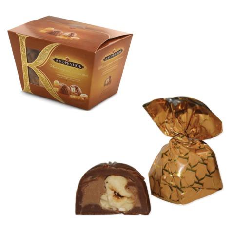 Конфеты шоколадные А.КОРКУНОВ, из молочного шоколада с цельным орехом, 135 г