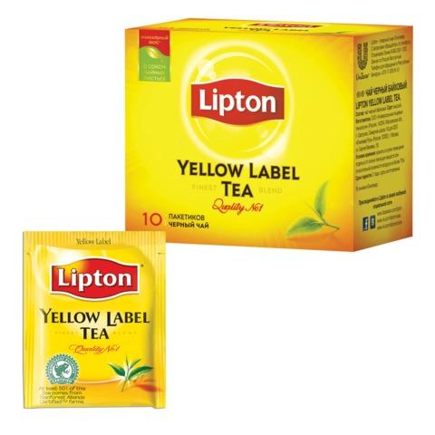 Чай LIPTON (Липтон) «Yellow Label», черный, 10 пакетиков с ярлычками по 2 г