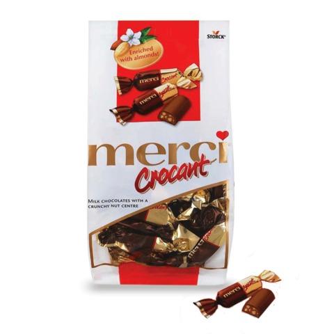 """Конфеты шоколадные MERCI (Мерси) """"Crocant"""", крокант в шоколаде, 125 г, пакет"""