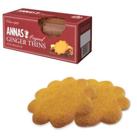 """Печенье ANNAS """"Ginger Thins"""" (Швеция), тонкое имбирное печенье, 150 г, картонная упаковка"""