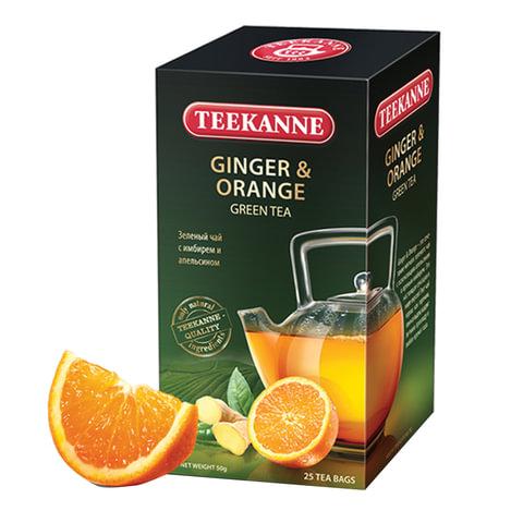 """Чай TEEKANNE (Тикане) """"Ginger&Orange"""", зеленый, имбирь/апельсин, 25 пакетиков, Германия"""