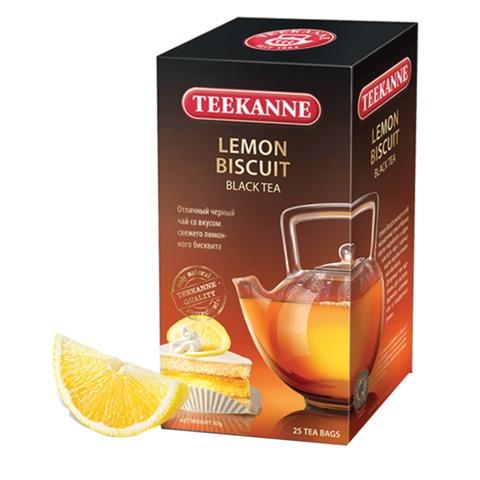 Чай TEEKANNE (Тикане) «Lemon Biscuit», черный, вкус лимонного бисквита, 25 пакетиков, Германия