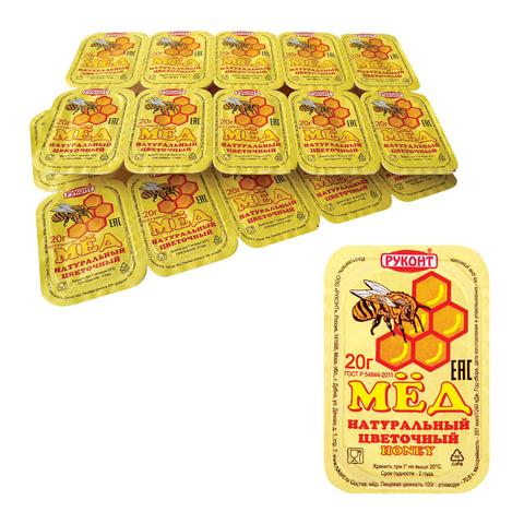 Мед порционный «Натуральный цветочный», спайка 20 шт. по 20 г, Руконт, Россия