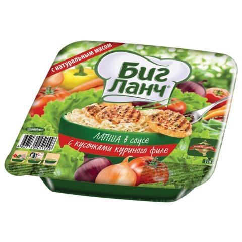 Лапша БИГ ЛАНЧ быстрого приготовления, с соусом и курицей, 110 г, чашка, вилка
