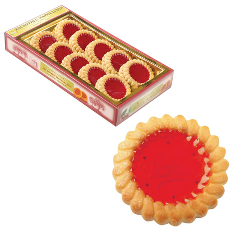 Печенье БИСКОТТИ (Россия) с вишневым мармеладом, сдобное, 235 г, картонная коробка