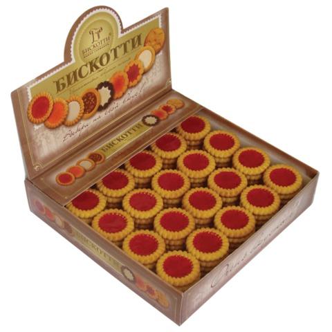 Печенье БИСКОТТИ (Россия) с вишневым мармеладом, сдобное, 1,75 кг, картонный шоу-бокс