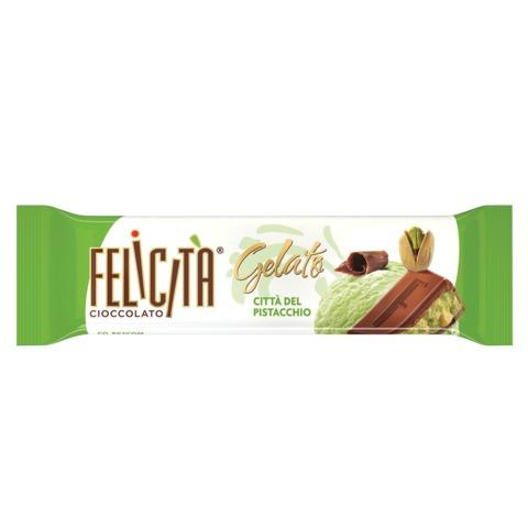Шоколад FELICITA (Феличита) «Gelato», молочный со вкусом фисташкового мороженого, 45 г