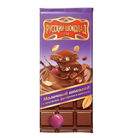 Шоколад РУССКИЙ ШОКОЛАД, молочный с арахисом, фундуком и изюмом, 85 г