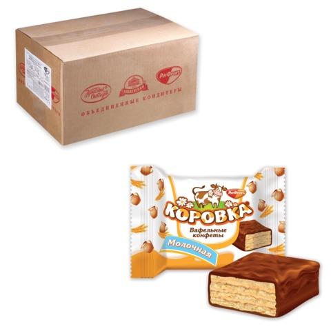Конфеты шоколадные РОТ ФРОНТ «Коровка», вафельные с молочной начинкой, весовые, 3 кг, гофрокороб