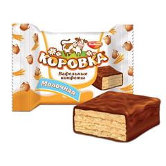 Конфеты шоколадные РОТ ФРОНТ «Коровка», вафельные с молочной начинкой, 250 г, пакет