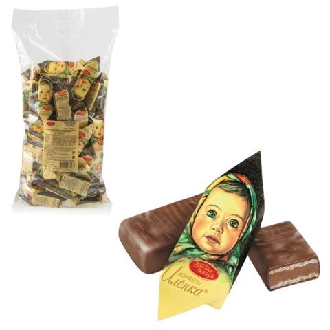 Конфеты шоколадные КРАСНЫЙ ОКТЯБРЬ «Аленка», вафельные, молочно-ореховые, 1000 г, пакет