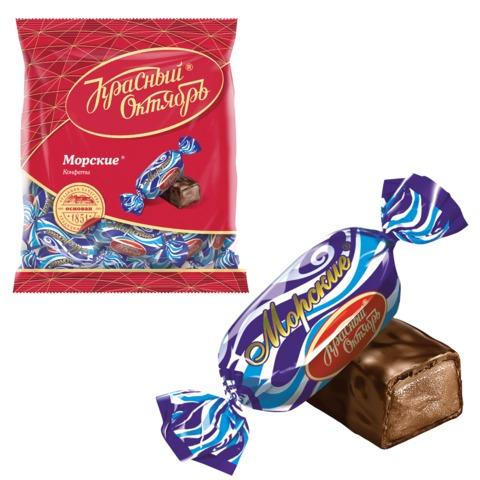 Конфеты шоколадные КРАСНЫЙ ОКТЯБРЬ «Морские», молочная помадка с какао, 250 г, пакет