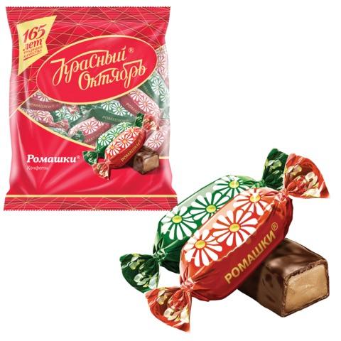 Конфеты шоколадные КРАСНЫЙ ОКТЯБРЬ «Ромашки», помадка крем-брюле с коньяком, 250 г, пакет