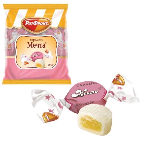 Конфеты-карамель РОТ ФРОНТ «Мечта», помадная начинка с цитрусовым повидлом, 250 г, пакет