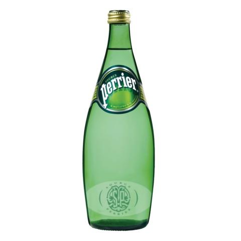 Вода газированная минеральная PERRIER (Перье), 0,75 л, стеклянная бутылка, Франция