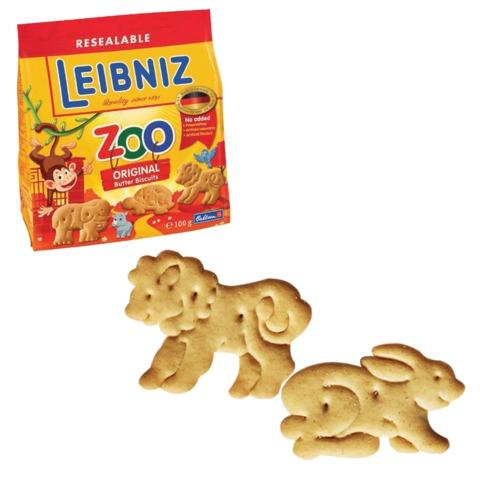 """Печенье BAHLSEN Leibniz (БАЛЬЗЕН Лейбниц) """"Zoo original"""", сливочное, фигурное, 100 г, Германия"""