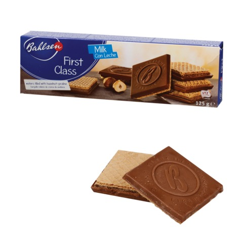 """Вафли BAHLSEN (Бальзен) """"First Class"""", хрустящие с молочным шоколадом, 125 г, Германия"""
