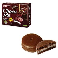 """Печенье LOTTE «Choco Pie Cacao"""" (""""Чоко Пай Какао»), глазированное, картонная упаковка, 336 г, 12 шт. х 28 г"""