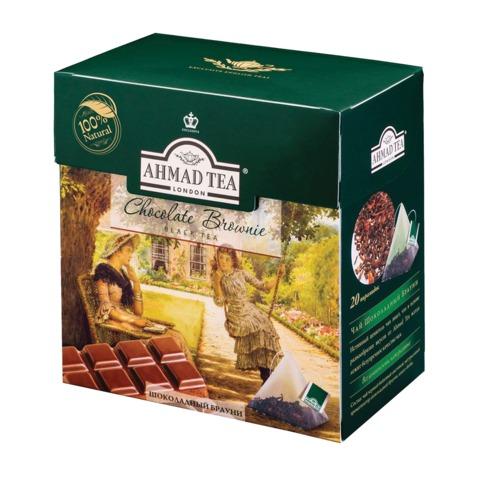 "Чай AHMAD (Ахмад) ""Chocolate Brownie"", черный, вкус шоколадного брауни, 20 пирамидок по 1,8 г"