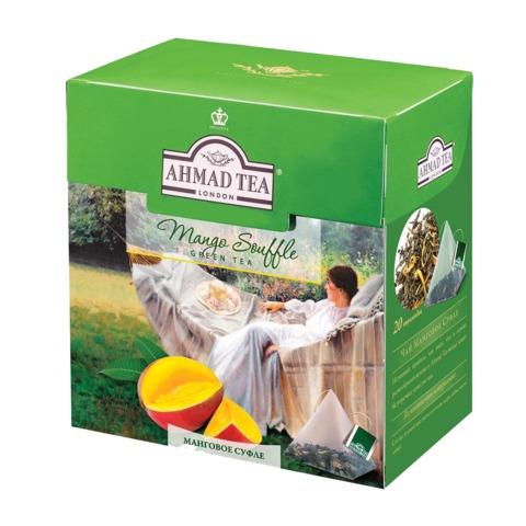 Чай AHMAD (Ахмад) «Mango Souffle», зеленый, вкус мангового суфле, 20 пирамидок по 1,8 г
