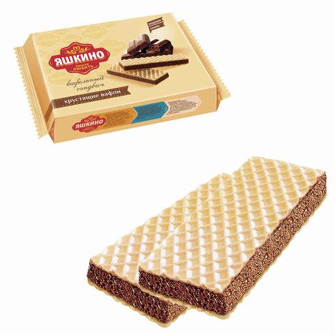 Вафли ЯШКИНО «Шоколайт», с прослойкой из шоколадной глазури, 180 г
