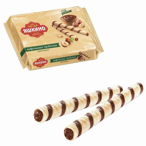 Вафли-трубочки ЯШКИНО «Ореховые», с шоколадно-ореховой начинкой, 190 г