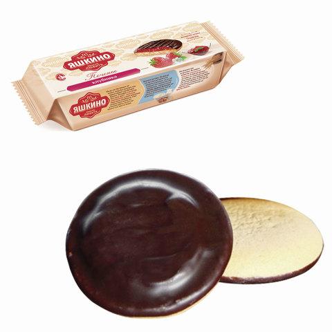 """Печенье ЯШКИНО """"Клубника"""", сдобное, с бисквитом, джемом и шоколадной глазурью, 137 г"""