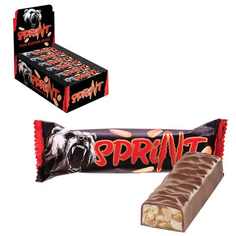 """Шоколадный батончик """"Спринт"""", мягкая карамель и арахис в шоколадной глазури, 50 г"""
