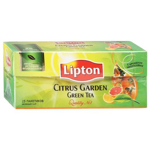 Чай LIPTON (Липтон) «Citrus Garden», зеленый с ароматом цитрусовых, 25 пакетиков по 1,4 г