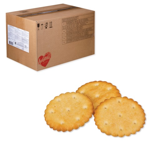 """Печенье-крекер ЛЮБЯТОВО """"ВТ"""", весовое, 5 кг, гофрокороб"""