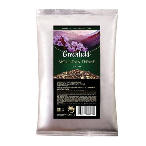 Чай GREENFIELD (Гринфилд) «Mountain Thyme», черный с чабрецом, листовой, 250 г, пакет