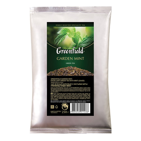 """Чай GREENFIELD (Гринфилд) """"Garden Mint"""", зеленый с мятой, листовой, 250 г, пакет"""
