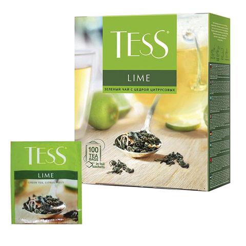 Чай TESS (Тесс) «Lime», зеленый с цедрой цитрусовых, 100 пакетиков по 1,5 г