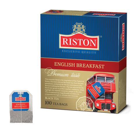 """Чай RISTON (Ристон) """"English Breakfast"""", черный, 100 пакетиков по 2 г"""