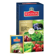 Чай RISTON (Ристон) «Assorted Teas», зеленый и травяной, ассорти 5 вкусов, 25 пакетиков по 1,5 г