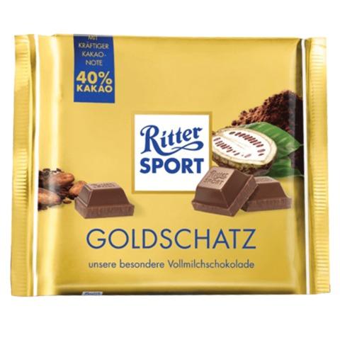 Шоколад RITTER SPORT «Goldschatz», молочный, со вкусом какао, 250 г, Германия