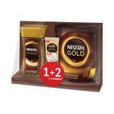 Кофе растворимый NESCAFE (Нескафе) Gold, сублимированный, Промонабор 1 + 2 в подарок, 95 г + 75 г + 17 г