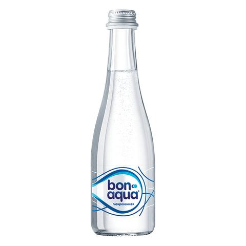 Вода газированная питьевая BONAQUA (БонАква), 0,33 л, стеклянная бутылка