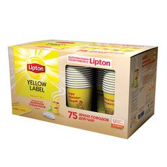 Промонабор: Чай LIPTON (Липтон) «Yellow Label», черный, 3 шт. х 100 пакетиков х 1,6 г + 75 стаканов, 1080 г