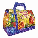 Подарок новогодний «Сумочка Деда Мороза», 2000 г, набор конфет и пр., ассорти, картонная коробка