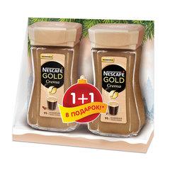 Промонабор: Кофе растворимый NESCAFE (Нескафе) «Gold Crema», 1+1 в подарок, 95 г + 95 г