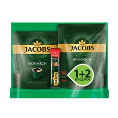 Промонабор: кофе растворимый JACOBS MONARCH (Якобс Монарх), 1+2 в подарок, 150 г+75 г+15 г